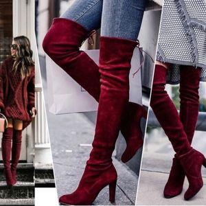 DANIELLA Over the Knee Boots - WINE